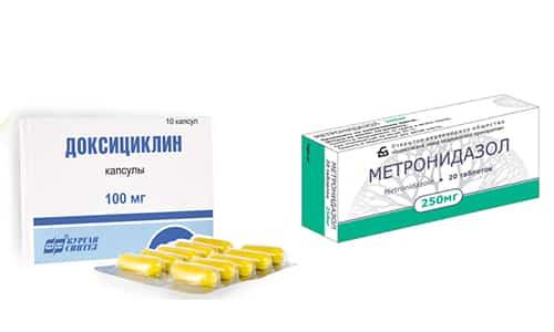При лечении инфекционных заболеваний, вызываемых некоторыми видами возбудителей, требуется применение Доксициклина и метронидазола